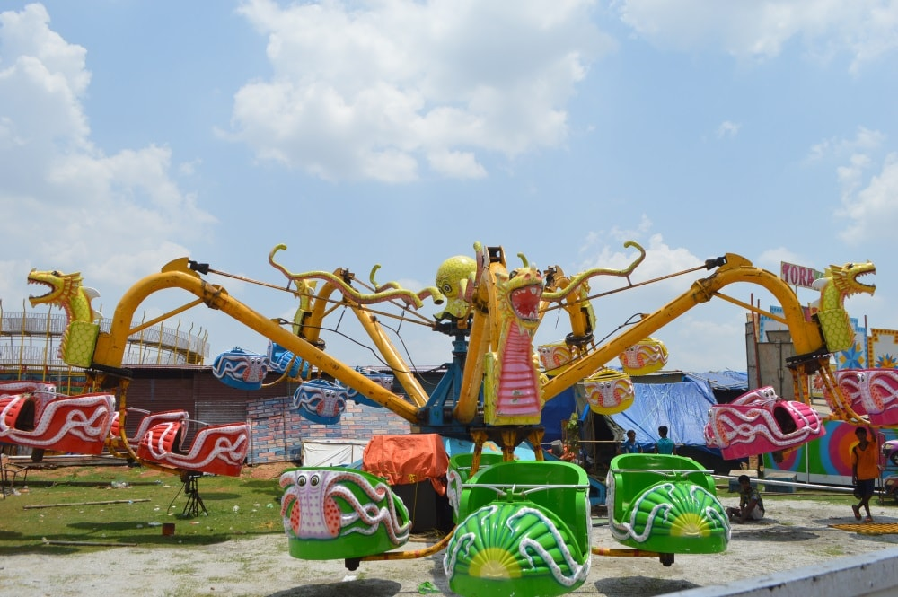 <p>Game wheel for children of devotees put up near Jagannath temple site,Dhurva,Ranchi-venue of Rath Yatra.</p>
