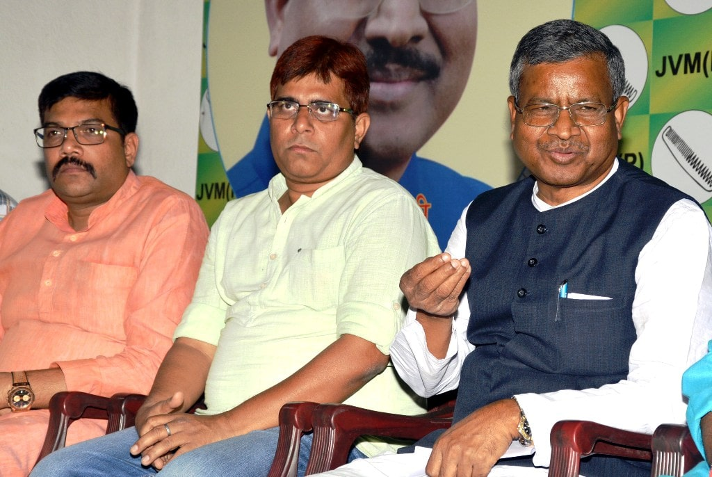 <p>JVM Chief Babulal Marandi addresses media persons at party headquarter in Ranchi on Wednesday.</p>