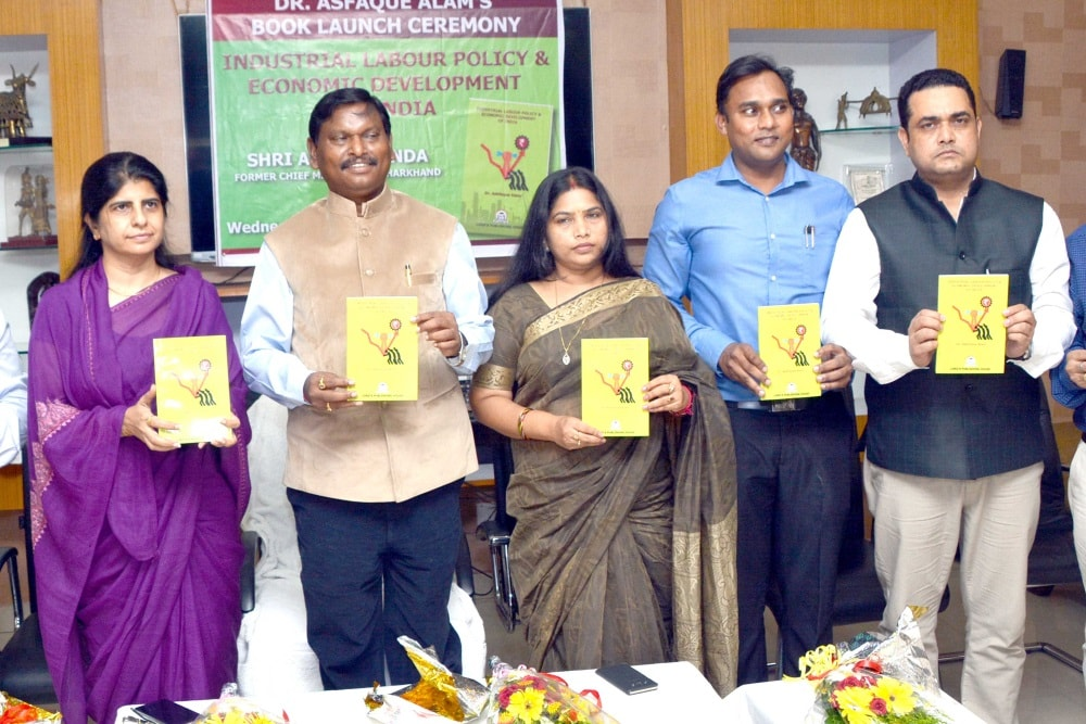 <p>Former Chief Minister Arjun Munda along with his wife Meera Munda, writer Dr. Asfaque Alam and others released a book&nbsp;named &lsquo;Industrial Labour Policy and Economic Development&#8230;