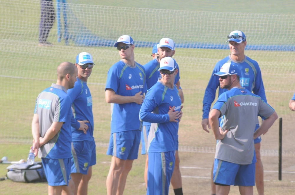<p>Australian&nbsp;players during a practice session ahead of their&nbsp;T-20 Cricket match against India at JSCA stadium in Ranchi on Wednesday.</p>