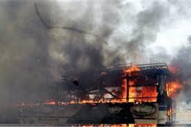 When levy not paid by its owner,Maoists set ablaze his Bus in Palamau