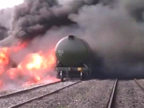 Goods train engine catches fire,passenger train hit a truck in Ranchi
