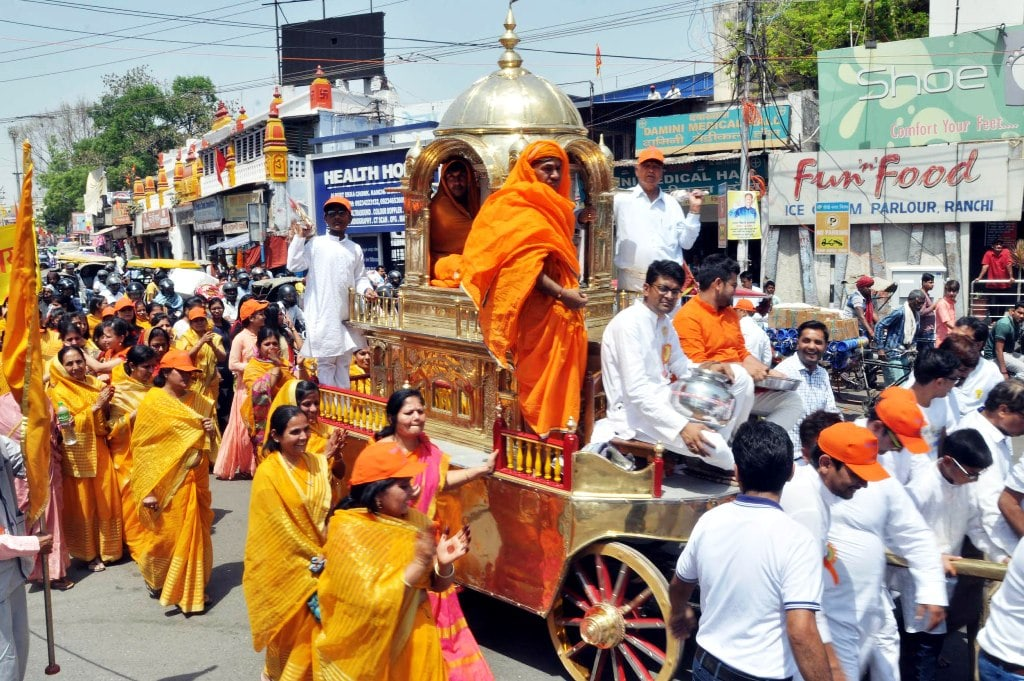 <p>Devotees from Jain community take part in a religious procession to celebrate Mahaveer Jayanti in Ranchi on Thursday. </p>