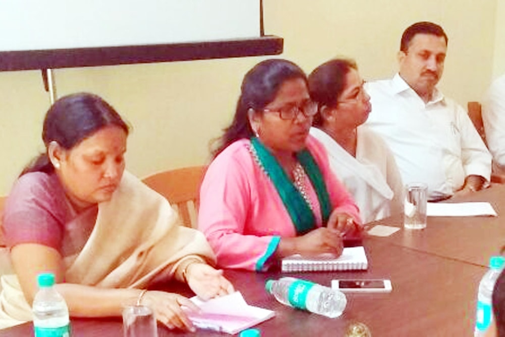 <p>JSCPCR Chairperson  Arti Kujur along with others during a meeting at Ranchi on Monday. </p>