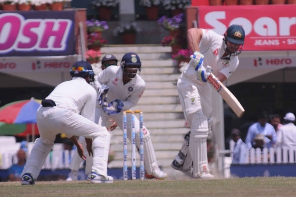 <p>Australia's batsman M Renshaw play a shot against India during 5th day play of the 3rd test match India vs Australia at Jharkhand State Cricket Association (JSCA) stadium…