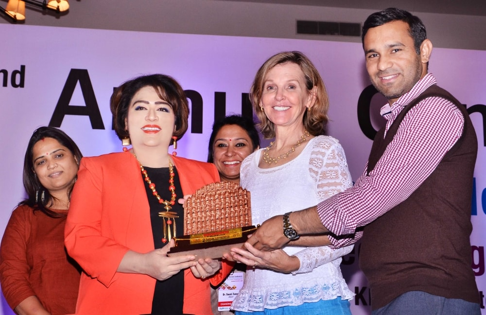 <p>Noted ophthalmologist Dr. Bharti Kashyap receives best Community Ophthalmology Award from President, Women in Ophthalmology Society, USA Dr. Susan MacDonald on the inaugural day…