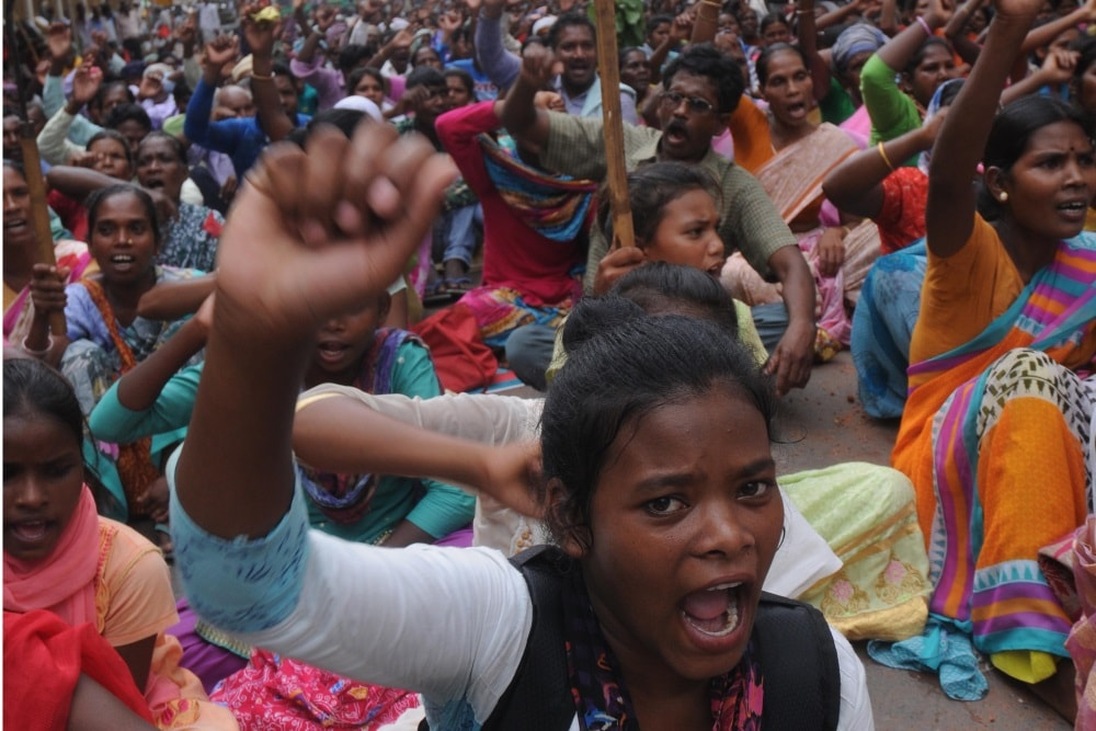 <p>Tribal's from various organizations takes part in a  protest rally against State Government Chhotanagpur Tenancy (CNT) Act and Santhal Pargana Tenancy (SPT) Act in…