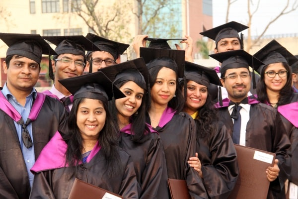 <p>IIM Ranchi students jubilant during their 6th convocation at Khel Gaon, Hotwar in Ranchi on Monday.</p>