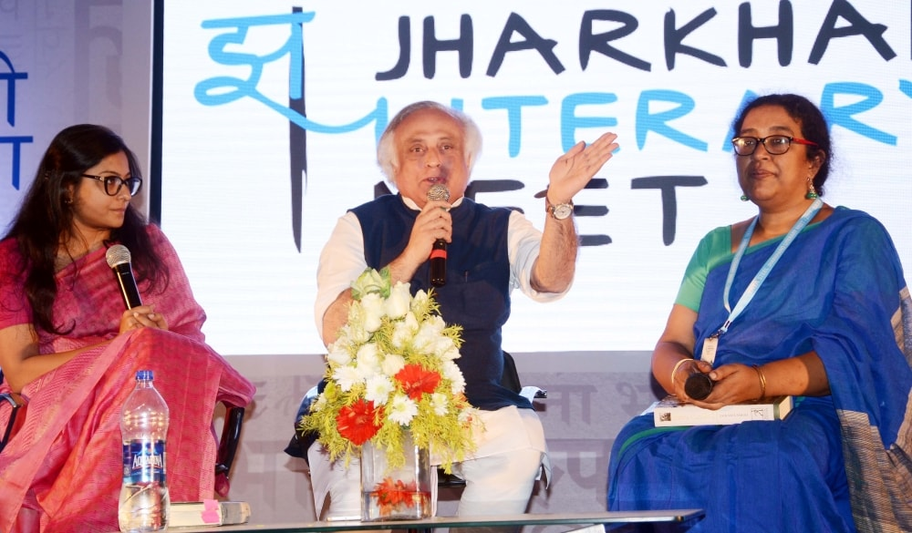 <p>Former Union Minister Jairam Ramesh speaks at the Jharkhand Literary meet at a city based hotel in Ranchi on Saturday.</p>