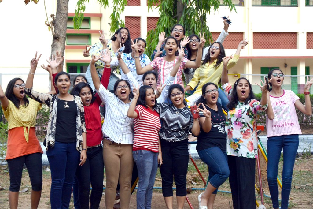 <p>Students celebrate after the Indian Certificate of Secondary Examination (ICSE) and Indian School Certificate (ISC) results of class 10th and 12th were declared in Ranchi…