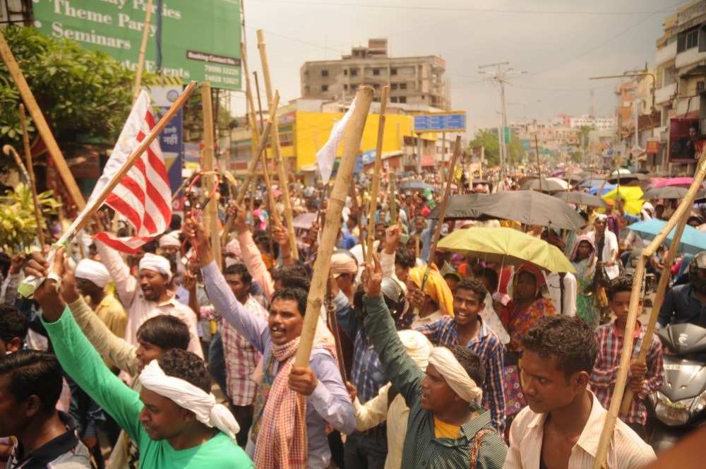 <p> Adivasi Sengel Abhiyan activists take part in a Parivartan Rally against Governments amendment of Chotanagpur Tenancy (CNT) Act, and Santal Parganas Tenancy (SPT) Act , in…