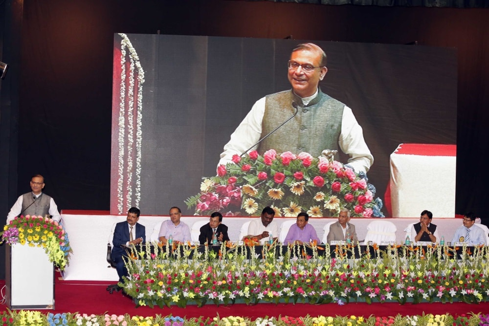 <p>MoS for Civil Aviation Jayant Sinha speakes during the 68th Foundation Day of Institute of Chartered Accountants of India (ICAI) at SAIL auditorium in Ranchi on Saturday. Minister…