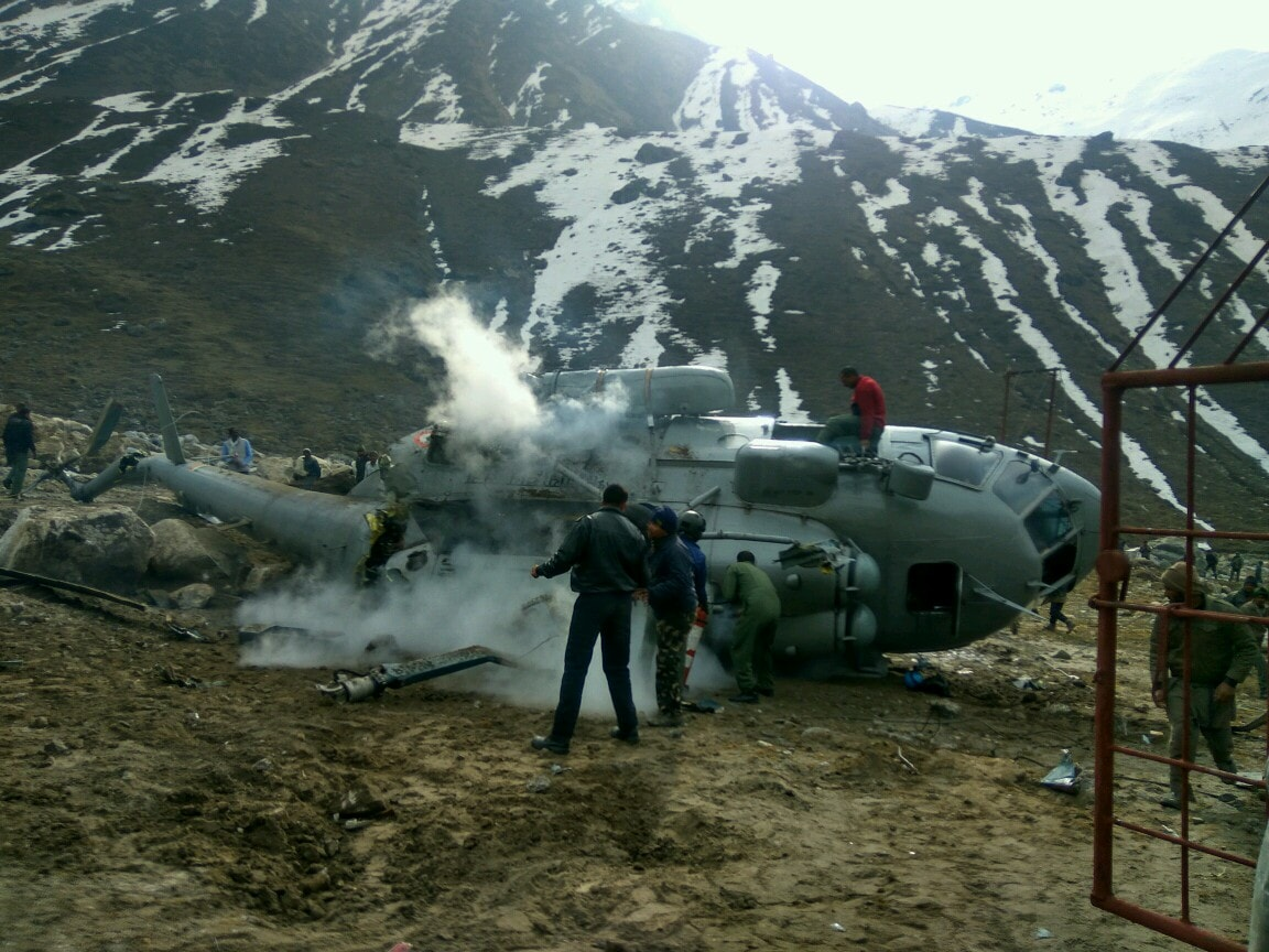 <p>A MI-17 helicopter of IAF got completely destroyed while it was trying to land on a helipad in Kedarnath after its rotor blades accidentally clipped some iron girders near the helipad.Reports…