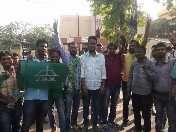 <p>Students of Ranchi University belonging to the JMM celebrate  Littipara Assembly By Poll result in Ranchi The result shows victory of its candidate Simon Marandi and defeat…