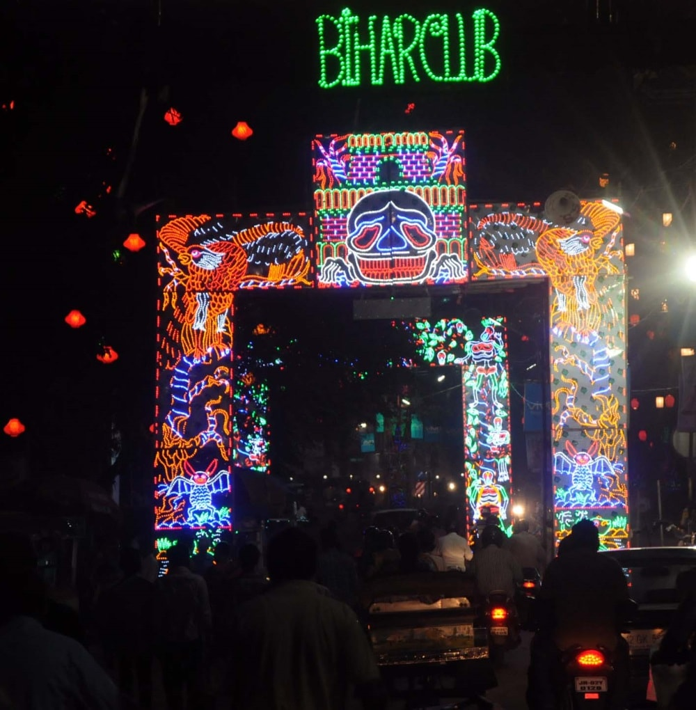 <p>Attractive Neon and LED lighting set up by Bihar Club Durga Puja Samity, Ranchi.</p>