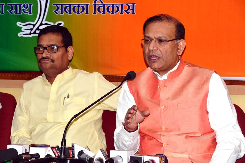 <p>Union Minister of State for Civil Aviation Jayant Sinha addresses media persons at BJP headquarter in Ranchi on Thursday. </p>