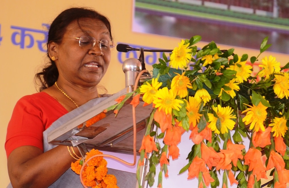 <p>Jharkhand Governor Draupadi Murmu addresses on the occasion of foundation stone laying ceremony for Jharkhand Raksha Shakti University at Khunti on Sunday. In her address she said…