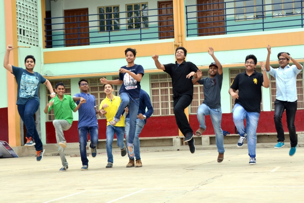 <p>Student of St. Xavier School celebrate their success in class 12thExamination of ICSE board at school premises in Ranchi on Monday</p>