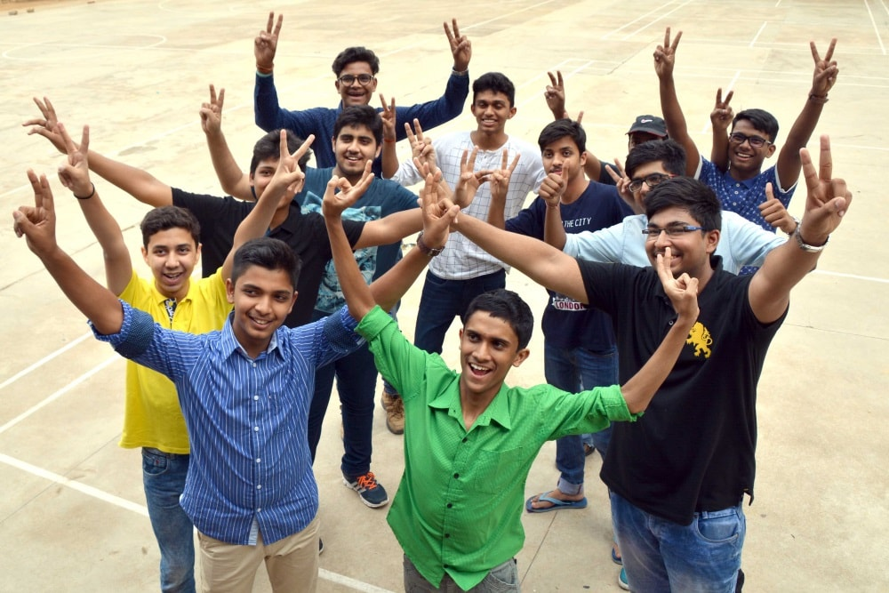 <p>Student of St. Xavier School celebrate their success in class 12th Examination of ICSE board at school premises in Ranchi on Monday</p>