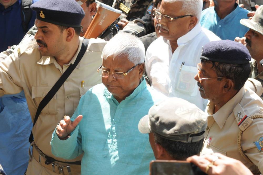 <p>Former Bihar Chief Minister Lalu Prasad Yadav leaves special CBI court after being pronounced guilty in the forth Dumka multi-crore fodder scam case, in Ranchi on Monday</p>