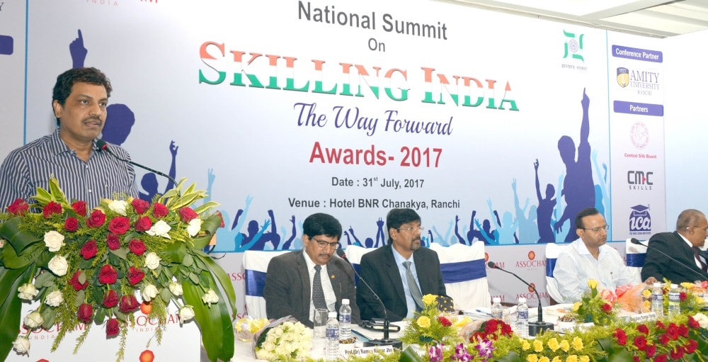 <p>Higher and Technical Education and Skill Development department secretary Ajoy Kumar Singh addresses at the National Summit on 'Skilling India' at a city based hotel in…