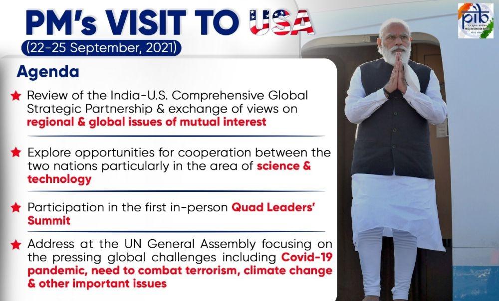 <p>Agenda of PM Modi's USA visit.</p>
