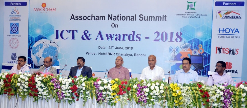<p>Minister for Food and Civil Supplies Saryu Roy, IT Director Umesh Prasad Shah and others during ASSOCHAM National Summit on ICT and Awards 2018 at a city-based hotel in Ranchi on…