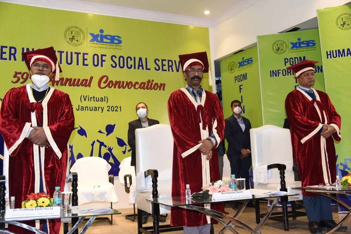 <p>Jharkhand CM Hemant Soren participated in XISS's Annual Convocation on January 16, 2021.</p>
