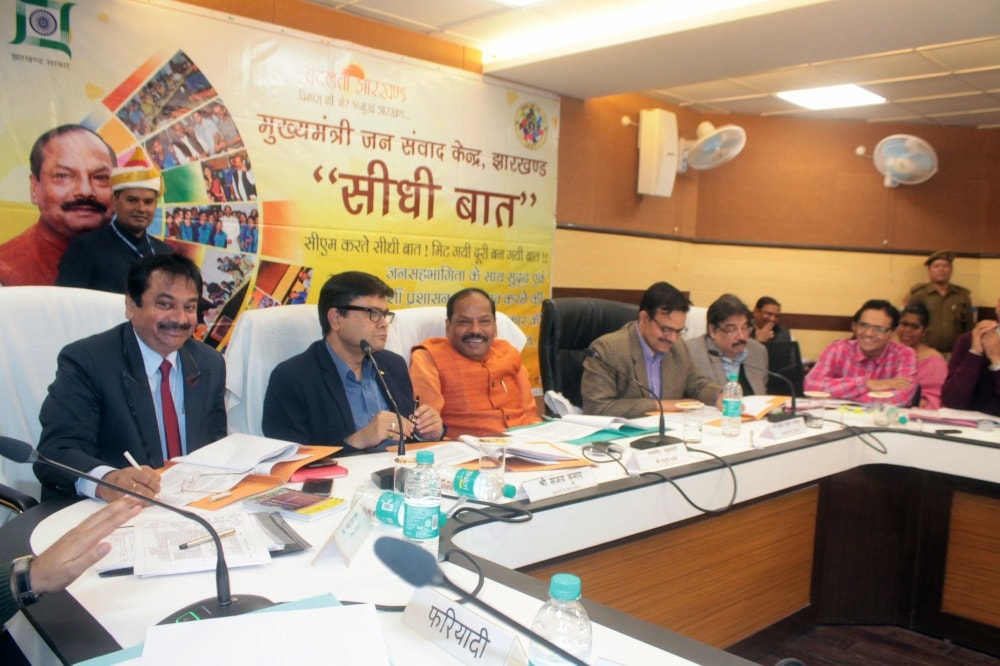 <p>CM Raghubar along with other topofficials of the government took part in 'Seedhi Baat' on Tuesday.</p>