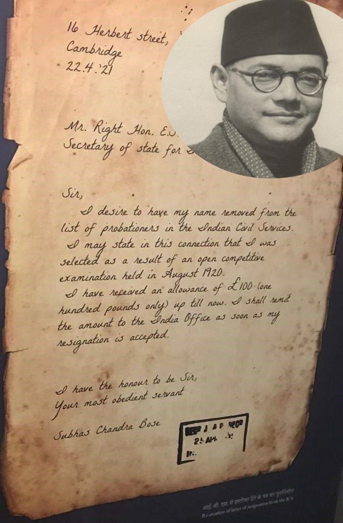 <p>What Subhash Chandra Bose wrote in his letter resigning from Indian Civil Service( ICS) on 22 April 1921.</p>