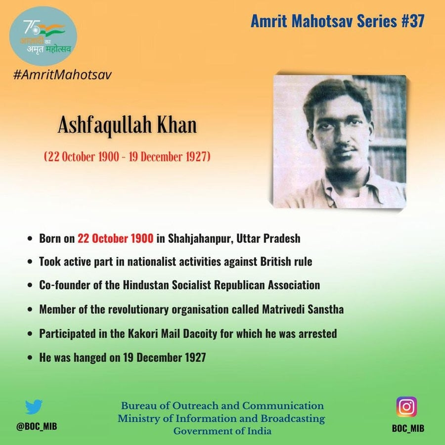 <p>Remembering Ashfaqullah Khan, a freedom fighter and patriot on his birth anniversary today.He actively participated in nationalist activities and was hanged in the famous…