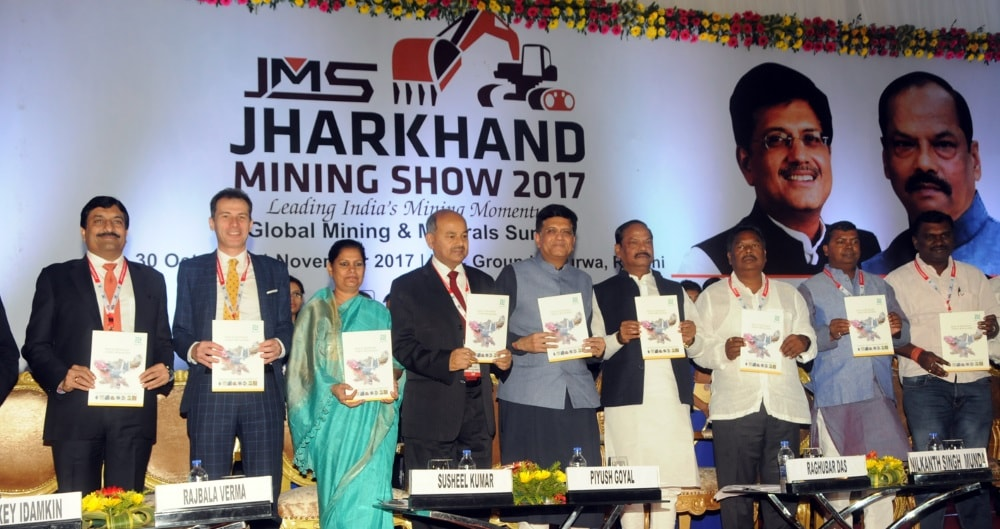 <p>Union Minister of Railways and Coal (Government of India) Piyush Goyal with Chief Minister of Jharkhand State,Raghubar Das along with other dignitaries releases Booklet  during…