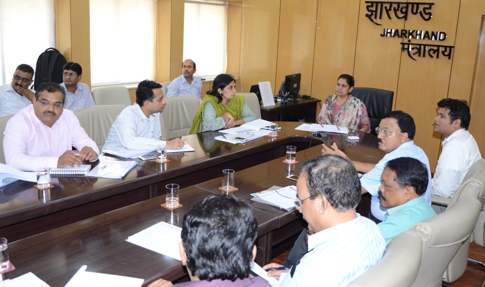 <p>Work to create Jharkhand as the Open Defecation Free State in the country, Chief Secretary Rajbala Verma directs concerned officials inside Project Bhawan in Ranchi.</p>