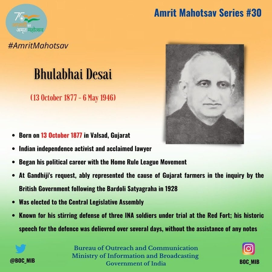 <p>Remembering Indian independence activist, acclaimed lawyer Bhulabhai Desai who began his political career with Home Rule League Movement. He is known for his stirring defense of…