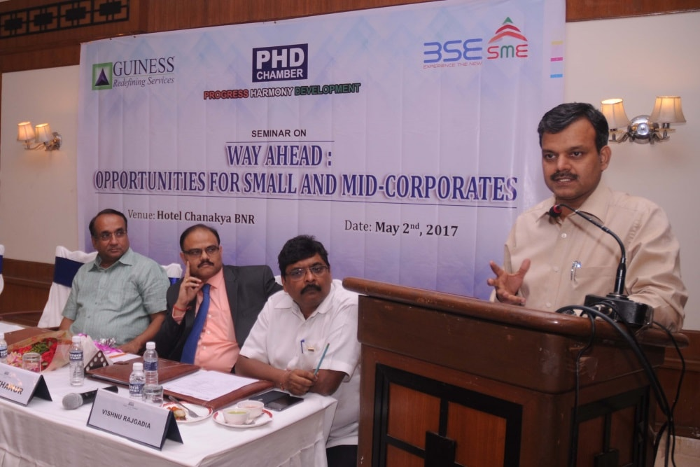 "<p>Principal secretary to CM Sunil Kumar Barnwal addresses a gathring during a seminar on ""Way Ahead Opportunities for Small and Mid-Corporate"" at a city based hotel in Ranchi on…"
