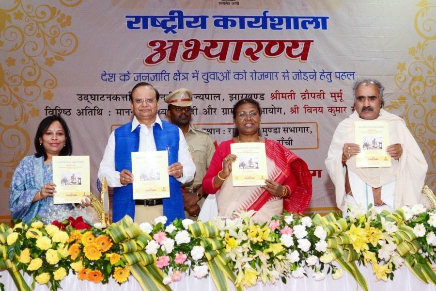 <p>Jharkhand Governor Droupadi Murmu, Chairman KVIC V.K. Saxena (2nd_L), Expert member (RD) KVIC Padmashri Ashok Bhagat (R) and Chief Exertive officer Anshu Sinha (L) releases…