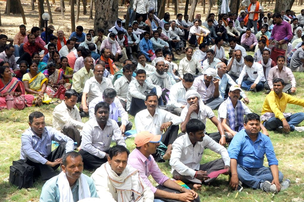 <p>Para teachers shout slogans as they setting inside Dada Dadi park during their protest against state government at Morhabadi in Ranchi on Tuesday.</p>