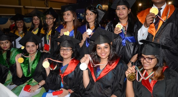 <p>Students of  Xavier Institute of Social Service (XISS) show their Gold medals and degrees during their 56th Annual Convocation Ceremony for the Batch 2015-17, in Ranchi on…
