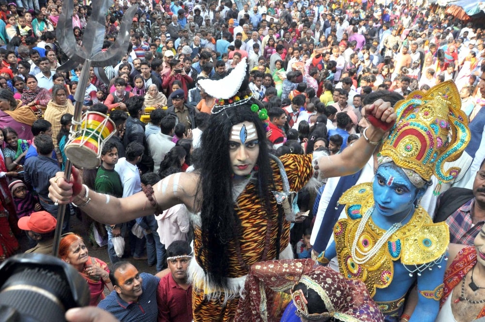 <p>Devotees take part in a religious procession 'Shiv Yatra' on the occasion of Mahashivratri a Hindu festival in Ranchi on Wednesday</p>