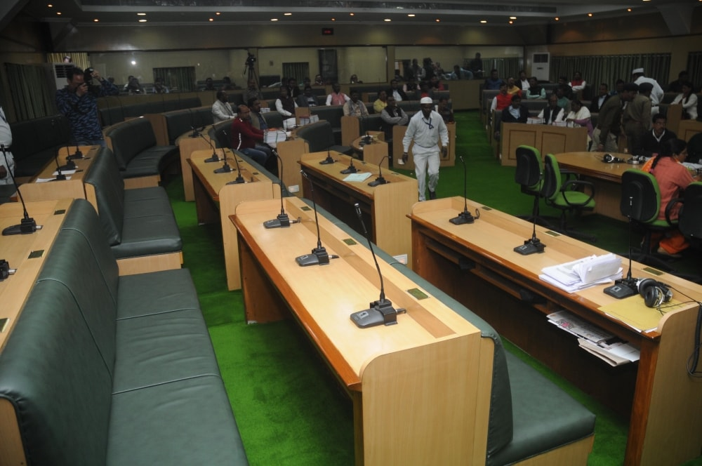 <p>Empty opposition legislators seat inside Assembly during Jharkhand Chief Minister and Finance Minister, Raghubar Das presenting budget of the year 2018-19 in the assembly in Ranchi…