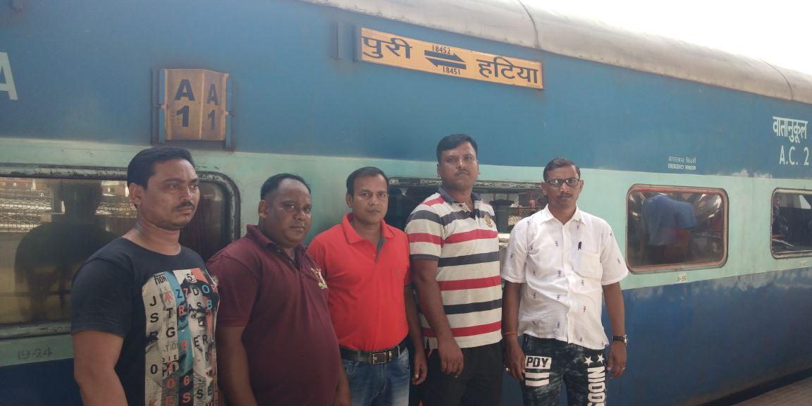 <p>पूरी रथ यात्रा मेला के अवशर पर दक्षिण पूर्ब रेलवे रांची मंडल से प्राथमिक उपचार हेतु संत जॉन एम्बुलेंस ब्रिगेड के 7 मेंबर्स दिनांक 11.7.18 को तपस्विनी एक्सप्रेस ट्रेन से पूरी के…