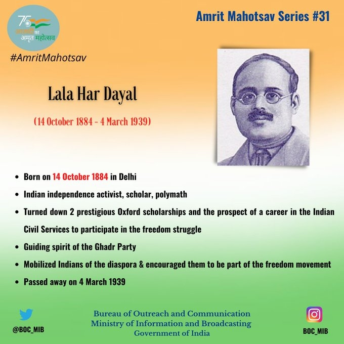 <p>Remembering Lala Har Dayal, on his birth anniversary. He was an independence activist, scholar, polymath.Lala ji involved himself into Indian struggle for freedom and helped…