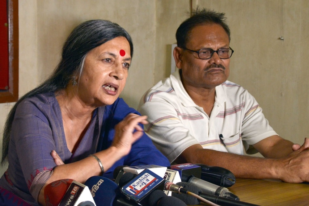 <p>CPI (M) politburo member Brinda Karat addresses a press conference at party office in Ranchi on Sunday. </p>