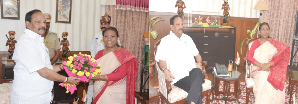 <p>Jharkhand CM Raghubar Das meets Governor Draupadi Murmu and handedover a bouquet of flowers inside Raj Bhawan in Ranchi.The details of their discussion not known,officials…