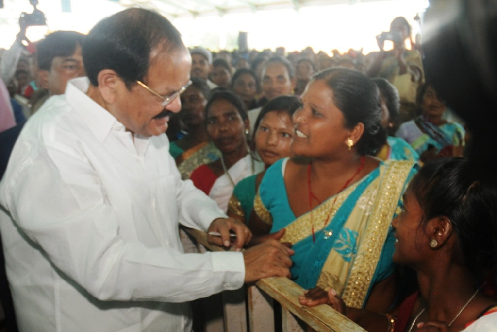 "<p>Vice-President of India Venkaiah Naidu interacts with members of Self Half Group during a programme on ""Swachhta Hi Seva"" at Lalkhatanga village near Ranchi on Thursday.</p>…"