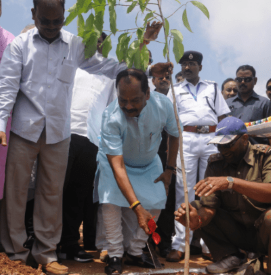 <p>Jharkhand Chief Minister Raghubar Das with Jharkhand Assembly speaker Dinesh Oraon plants a sapling during a Large Plantation programme on the occasion of Van Mahastav at new Assembly…