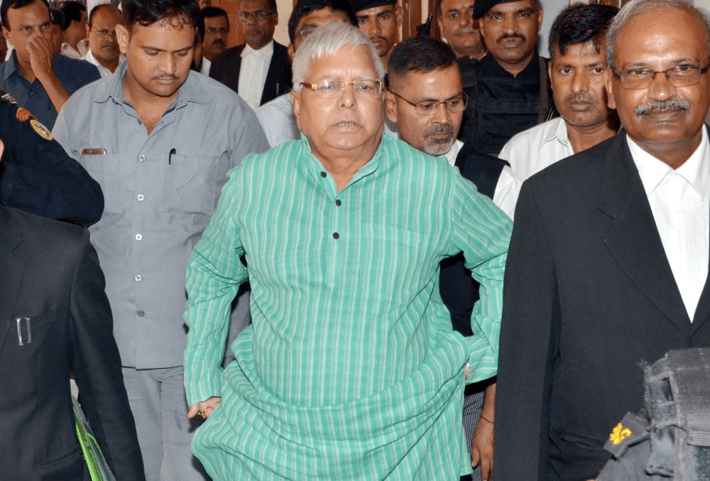 <p>RJD Chief Lalu Prasad Yadav arrives at special CBI Court in Ranchi on Thursday.</p>