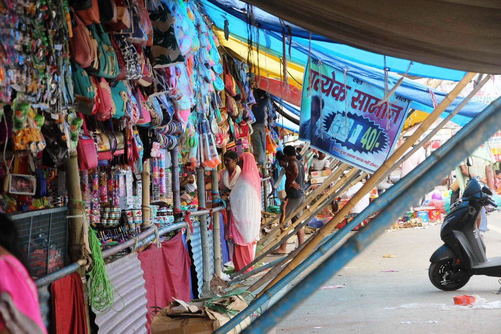 <p>Numerous shops with various and colorful wares setup for the week-long Rath festival in Ranchi.</p>