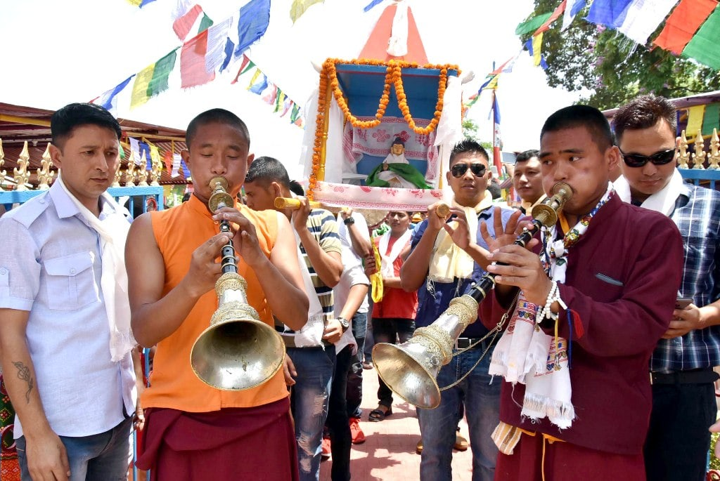 <p>Buddhist monks take part in a holy procession of Buddha Purnima at Doranda in Ranchi on Monday. The festival is also known as Vesak Day.</p>