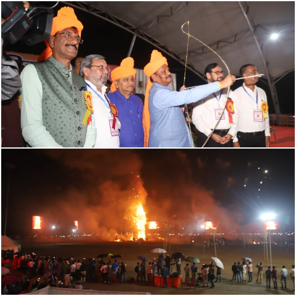 <p>Jharkhand Chief Minister Raghubar Das shot an arrow and fire engulfed the symbolic Ravana at Morahabadi Maidan to celebrate Vijay Dashmi- Dussehra.      Hundreds…